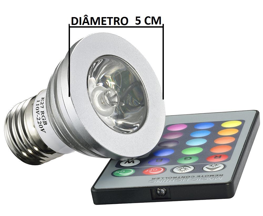 Luz Led Lampada Para Espeto De Jardim Rgb 16 Cor C Controle  R$ 19