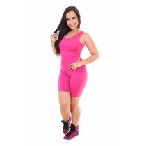 Macacão Curto Feminino Suplex Liso Moda Fitness Academia