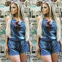 Macacão Macaquinho Feminino Curto Jeans Panicat Social