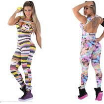 Macacão Feminino Fitness Com Bojo Estampado -academia-ginast