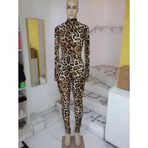Macacão Leopardo Drag Queen Body Show Animal Print Tamanho M