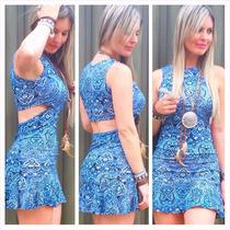 Vestido Decote Costas Sereia Curto Rodadinho Moda Verão