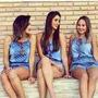 Macacão Macaquinho Jeans Alça Curto Azul Escuro Com Detalhes