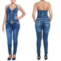 Sawary Macacão Jeans Modela E Levanta Bumbum Pit Bull Lycra