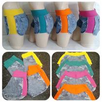 Kit Atacado 5 Peças - Shorts Jeans Feminino Com Moletom