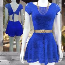 Macaquinho Feminino Azul Curto De Renda P M G Pronta Entrega
