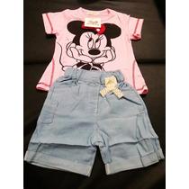 Conj Shorts Jeans Com Camiseta Minnie - Infantil
