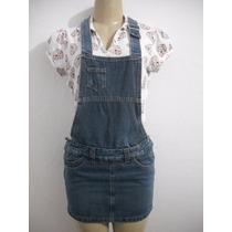 Jardineira Saia, Jeans Tam 38, Usado Bom Estado