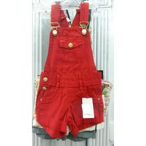 Jardineira Jeans Infantil Feminina Vermelha Tamanho 6