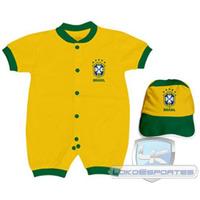 Kit Macacão Curto E Boné Brasil - Torcida Baby
