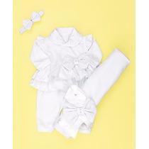 Kit Saída De Maternidade Branco Bebê Menina - Batizado