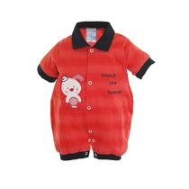 Macacão Curto Com Gola Polo Para Bebê