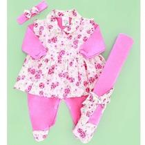 Kit Saída De Maternidade Floral Rosa - Frete Grátis