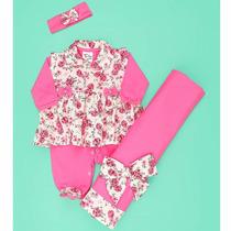 Kit Saída De Maternidade Floral Rosa 4 Peças - Bebê Menina