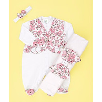 Kit Saída De Maternidade Floral Branco/rosa - Bebê Menina