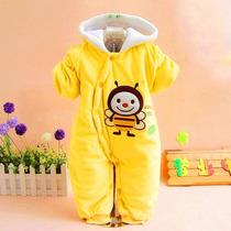 Macação Infantil Bebê Bichinho Joaninha Amarela Inverno