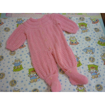 Macacão, Gorrinho E Luva De Lã - Tricô P/ Bebê - Feito À Mão