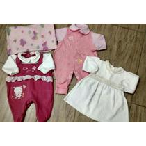 Lote Enxoval Bebê: Mini Coberta, 2 Macacão, Vestido Tam. Rn