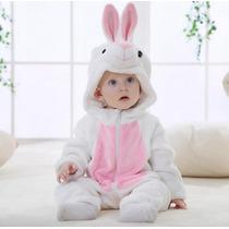 Fantasia Macacão Bebê Plush Coelho Branco Animal Capuz