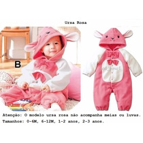 Macacão Fantasia Bebê Bichinho Ursa Rosa Frete Grátis
