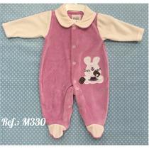 Macacao Bebe Menina Em Plush Fabricado Gabrielly Baby