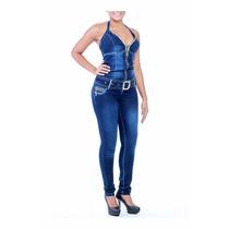 Macacão Sawary Jeans Com Bojos Modela E Levanta Bumbum Pit