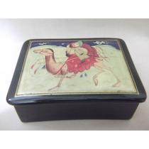 B. Antigo - Caixa Porta Jóias Russo Em Madeira Pintado A Mão