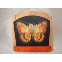 Decoração Porta Cartas Chaves Madeira Parede Pintura Borbole