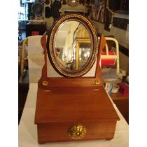 Caixa Com Espelho- De Mesa- Portuguesa - Em Cedro