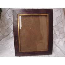 Decoração Antigo Grande Porta Retrato Madeira Metal Anos 40