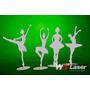 Kit 4 Bailarinas Mdf 50 Cm Com Base Decoração Festa
