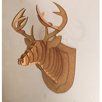 Cabeça Alce Cervo Empalhado Réplica Feita Em Mdf Corte Laser