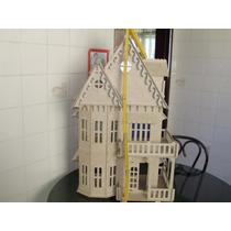 Casa Casinha De Boneca Poly, Barbie Mdf + 23 Móveis Laser