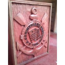 Quadro Corinthians Entalhado A Mão Madeira Maciça Cedro Rosa