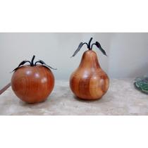 Frutas Em Madeira - Enfeite De Maça E Pêra - Artesanato