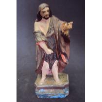 Estatueta Imagem Santo São João Batista Em Madeira Antiga