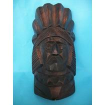 3685 - Cabeça De Indio Escultura Madeira