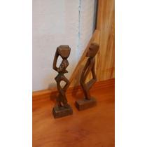 Par Escultura Negros Escravos Madeira