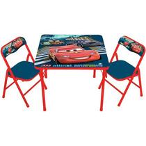 Mesa De Ferro Com 2 Cadeiras Infantil Carros