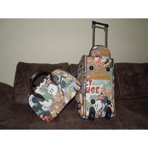 Kit Bolsa De Viagem Com Rodinha *mickey E Minnie *