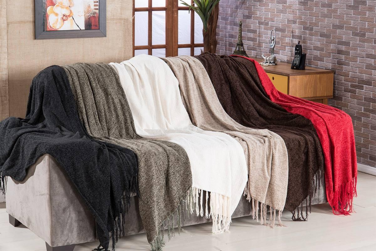 Manta para sof sevilha chenille 120x180cm preto borda r - Mantas para el sofa ...