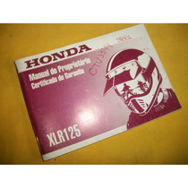 Honda Xlr125 - Manual Do Proprietário - Original 99/00-raro-