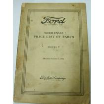 Ford 1926 - Lista De Peças - Original