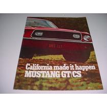 Folder Raro Ford Mustang Gt / Cs Raro 68 1968 Original V8