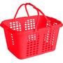 Cestinha Cesta Plástica De Mercado Loja Farmácia Vermelha