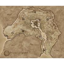 Mapa Province Of Cyrodiil 45x53 Cm Do Jogo Skyrim Semi Novo
