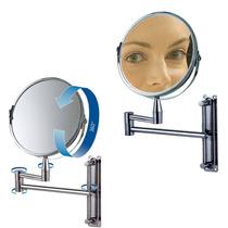 Espelho Aumento Dupla Face Articulado Inox Barbear Maquiagem
