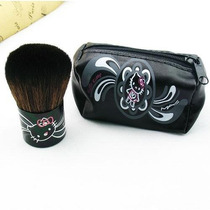 Pincel Kabuki Hello Kitty Para Blush Ou Pó Com Bolsinha Mac