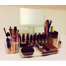 Porta Maquiagem Grande Acrílico Organizador C/ Espelho+mimo
