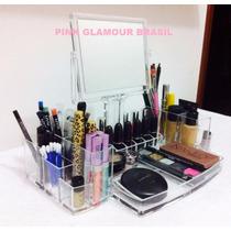 Porta Maquiagem Grande Acrílico Organizador C/ Espelho